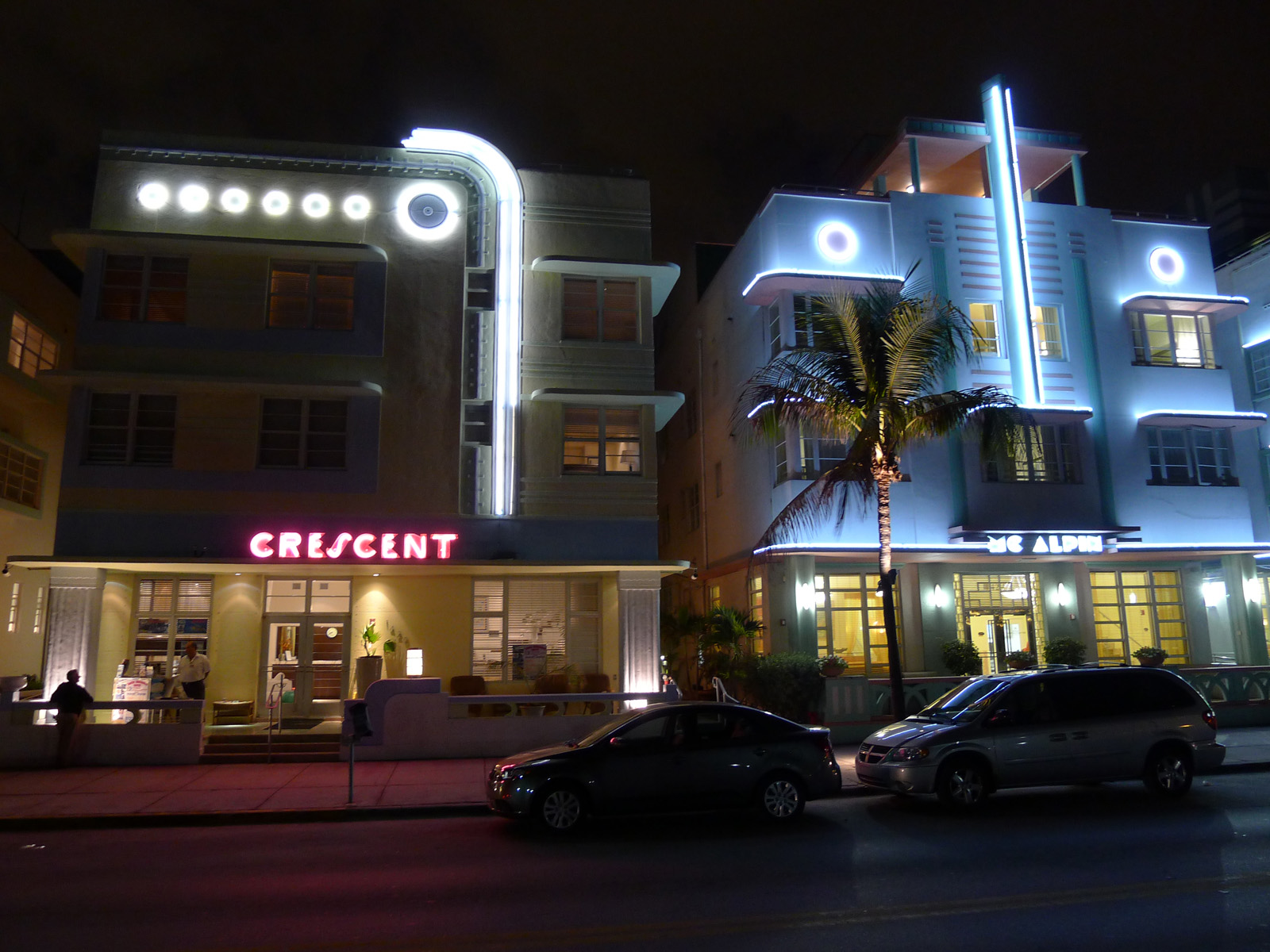 Art deco hotels at night in South Beach Miami