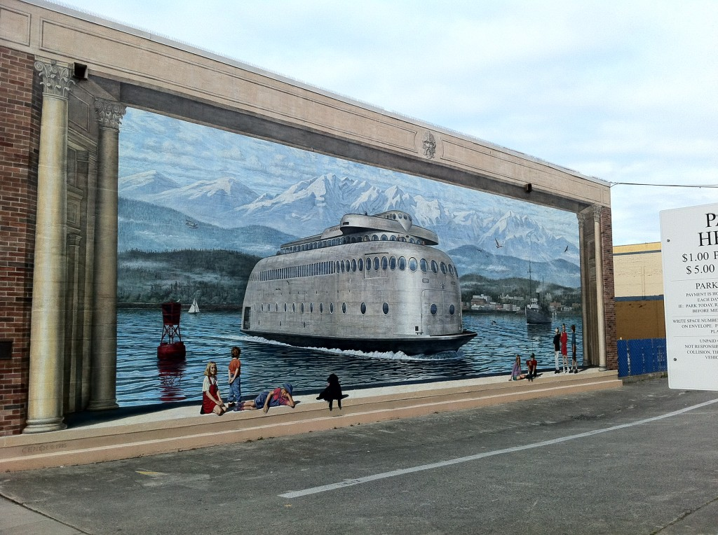 Random wall art while wandering around Port Angeles. Apparently this was actually a ferry that ran out of Port Angeles.